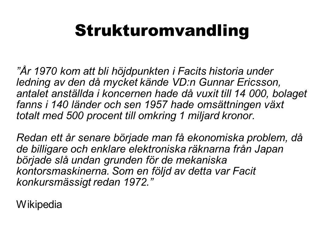 Strukturomvandling År 1970 kom att bli höjdpunkten i Facits historia under ledning av den då mycket kände VD:n Gunnar Ericsson, antalet anställda i koncernen hade då vuxit till 14 000, bolaget fanns i 140 länder och sen 1957 hade omsättningen växt totalt med 500 procent till omkring 1 miljard kronor.