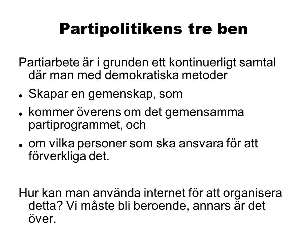 Partipolitikens tre ben Partiarbete är i grunden ett kontinuerligt samtal där man med demokratiska metoder Skapar en gemenskap, som kommer överens om