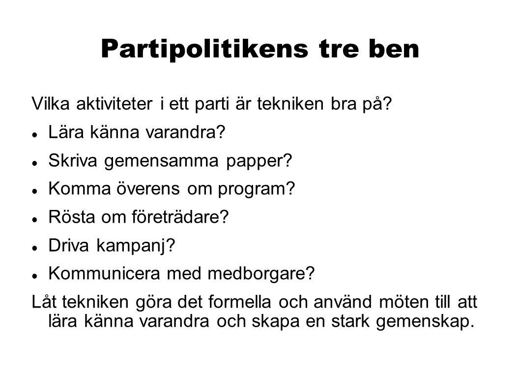 Partipolitikens tre ben Vilka aktiviteter i ett parti är tekniken bra på.