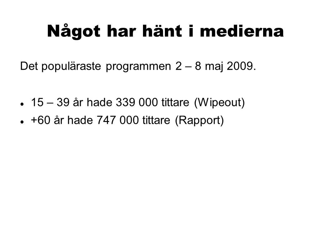 Något har hänt i medierna Det populäraste programmen 2 – 8 maj 2009. 15 – 39 år hade 339 000 tittare (Wipeout) +60 år hade 747 000 tittare (Rapport)
