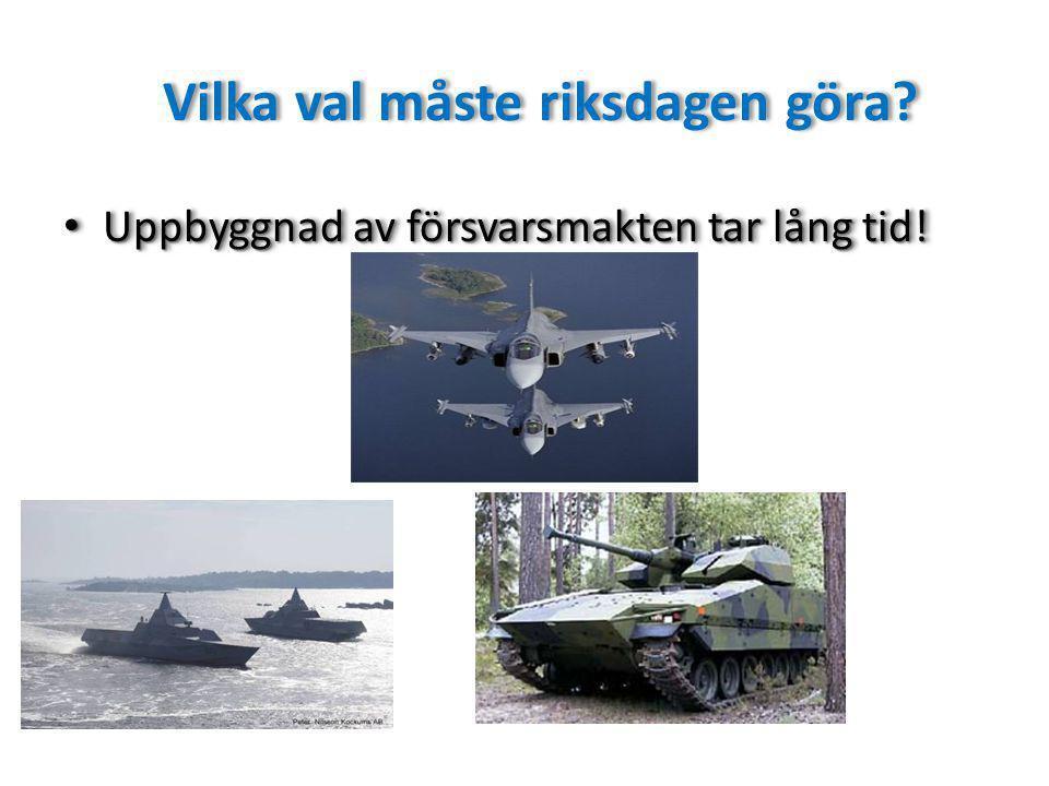 Vilka val måste riksdagen göra.Uppbyggnad av försvarsmakten tar lång tid.