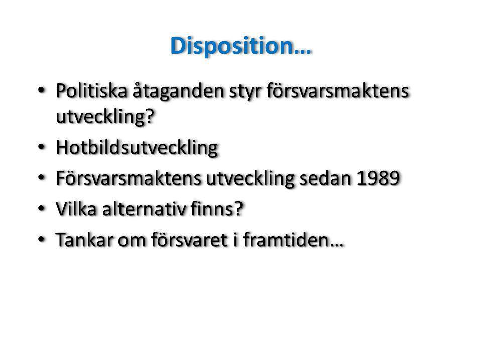 Disposition… Politiska åtaganden styr försvarsmaktens utveckling.