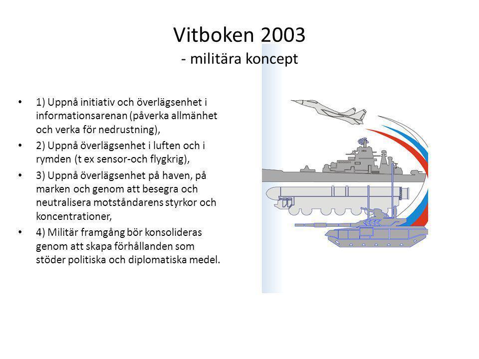 Vitboken 2003 - militära koncept 1) Uppnå initiativ och överlägsenhet i informationsarenan (påverka allmänhet och verka för nedrustning), 2) Uppnå överlägsenhet i luften och i rymden (t ex sensor-och flygkrig), 3) Uppnå överlägsenhet på haven, på marken och genom att besegra och neutralisera motståndarens styrkor och koncentrationer, 4) Militär framgång bör konsolideras genom att skapa förhållanden som stöder politiska och diplomatiska medel.