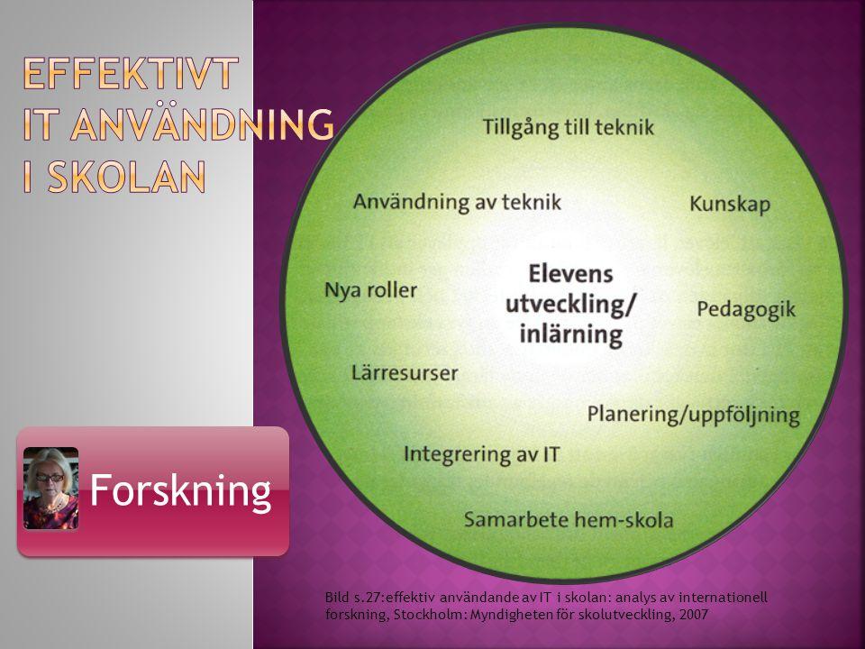 Forskning Bild s.27:effektiv användande av IT i skolan: analys av internationell forskning, Stockholm: Myndigheten för skolutveckling, 2007