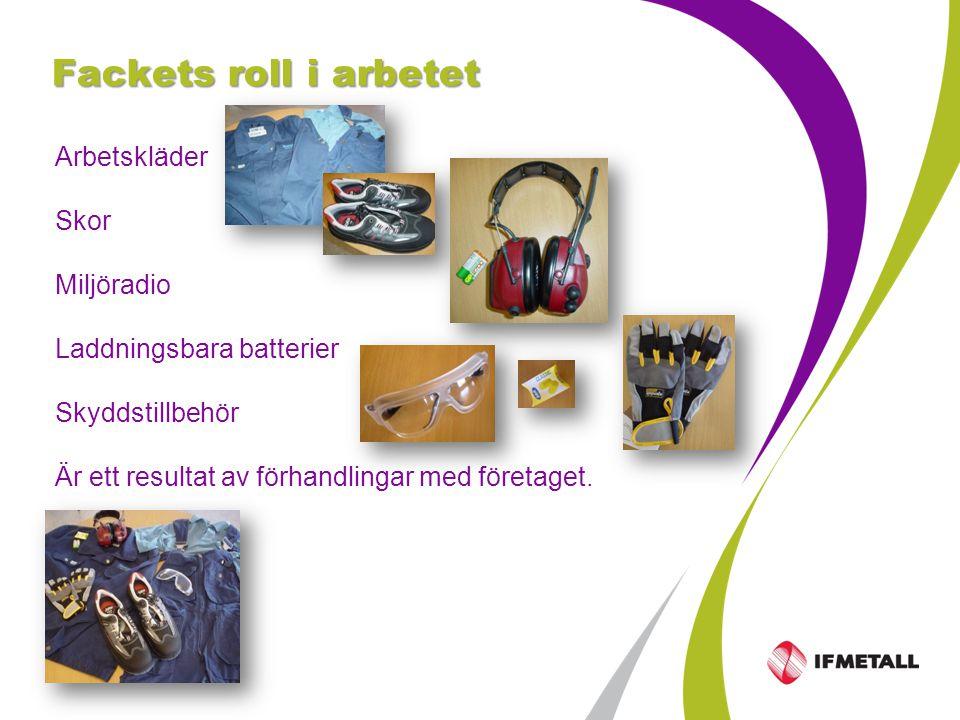 Industrifacket Metall sid 5 Fackets roll i arbetet Arbetskläder Skor Miljöradio Laddningsbara batterier Skyddstillbehör Är ett resultat av förhandlingar med företaget.
