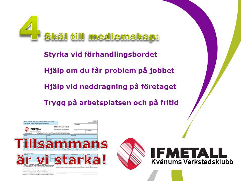 Industrifacket Metall sid 7 Kvänums Verkstadsklubb Styrka vid förhandlingsbordet Hjälp om du får problem på jobbet Hjälp vid neddragning på företaget Trygg på arbetsplatsen och på fritid