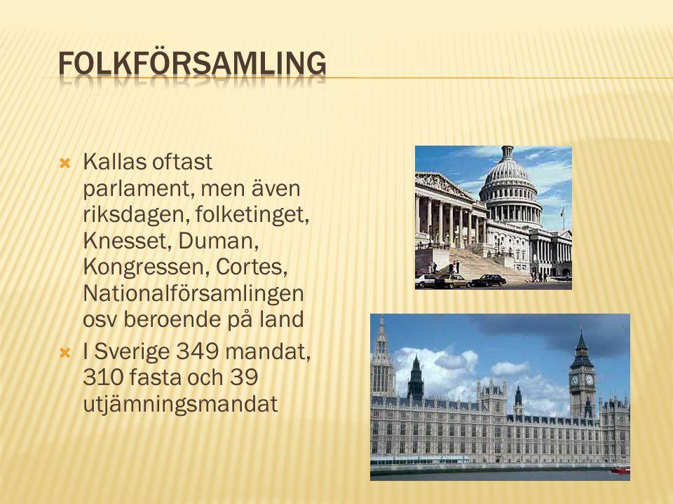 Kallas oftast parlament, men även riksdagen, folketinget, Knesset, Duman, Kongressen, Cortes, Nationalförsamlingen osv beroende på land  I Sverige