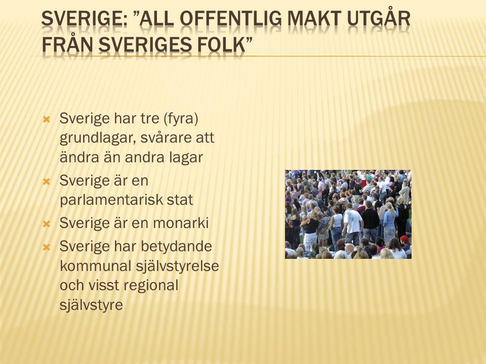  Sverige har tre (fyra) grundlagar, svårare att ändra än andra lagar  Sverige är en parlamentarisk stat  Sverige är en monarki  Sverige har betyda