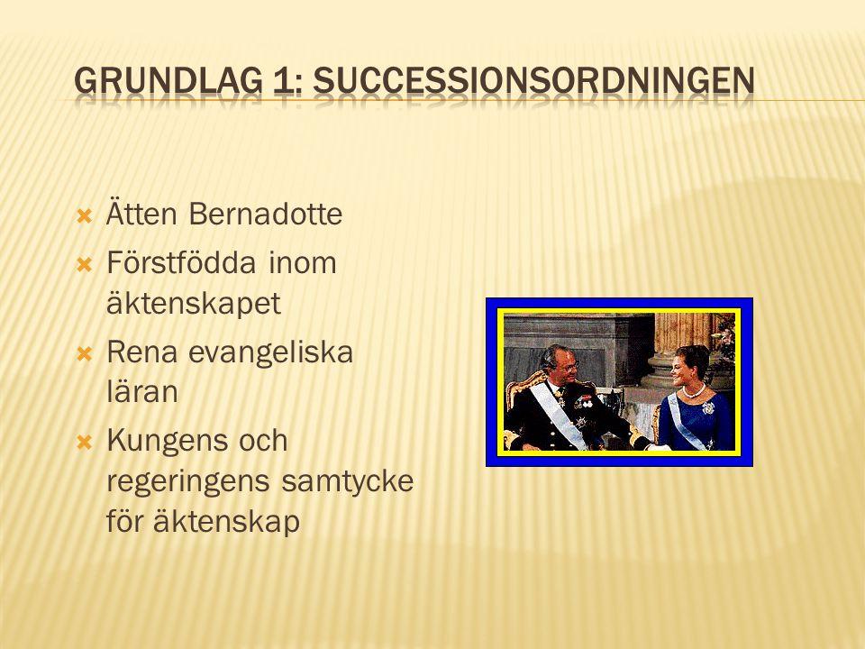 Ätten Bernadotte  Förstfödda inom äktenskapet  Rena evangeliska läran  Kungens och regeringens samtycke för äktenskap