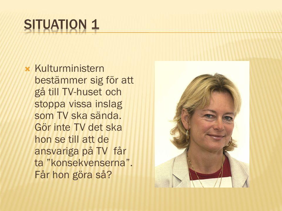  Kulturministern bestämmer sig för att gå till TV-huset och stoppa vissa inslag som TV ska sända. Gör inte TV det ska hon se till att de ansvariga på
