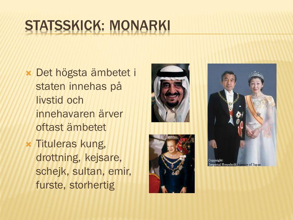  Det högsta ämbetet i staten innehas på livstid och innehavaren ärver oftast ämbetet  Tituleras kung, drottning, kejsare, schejk, sultan, emir, furs