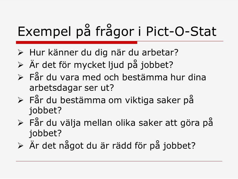 Exempel på frågor i Pict-O-Stat  Hur känner du dig när du arbetar?  Är det för mycket ljud på jobbet?  Får du vara med och bestämma hur dina arbets