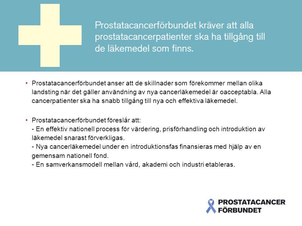 Skillnaderna är oacceptabla Prostatacancerförbundet anser att de skillnader som förekommer mellan olika landsting när det gäller användning av nya cancerläkemedel är oacceptabla.