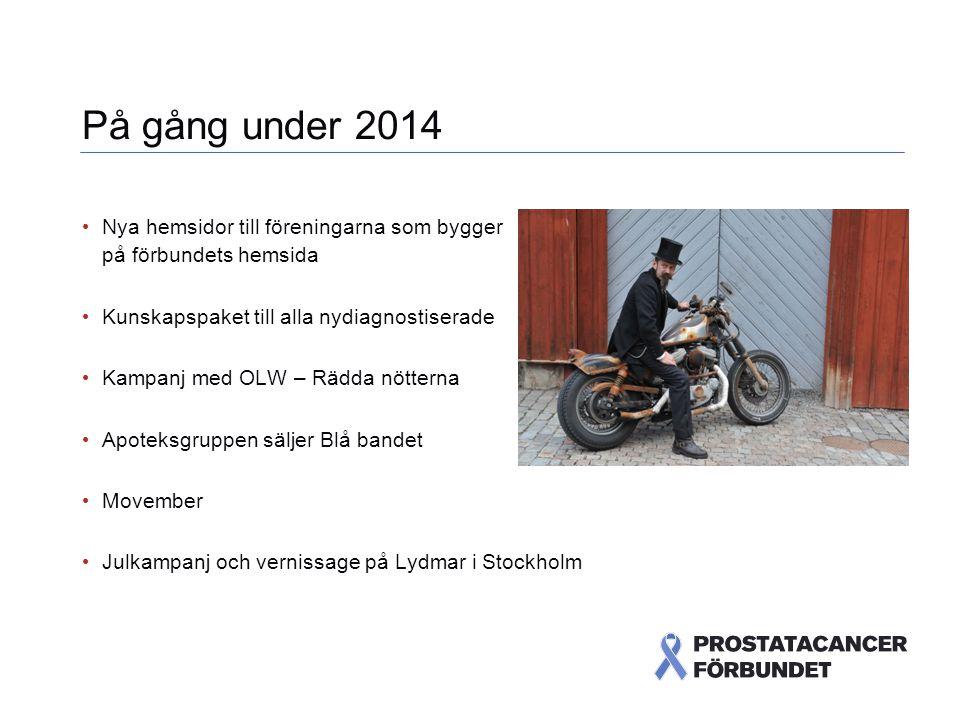 På gång under 2014 Nya hemsidor till föreningarna som bygger på förbundets hemsida Kunskapspaket till alla nydiagnostiserade Kampanj med OLW – Rädda nötterna Apoteksgruppen säljer Blå bandet Movember Julkampanj och vernissage på Lydmar i Stockholm