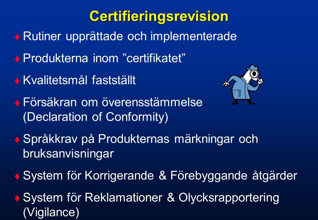 Certifieringsrevision forts…  Konstruktionsstyrning: Planering, genomgångar, verifiering, validering, beslut om frisläppning till produktion.