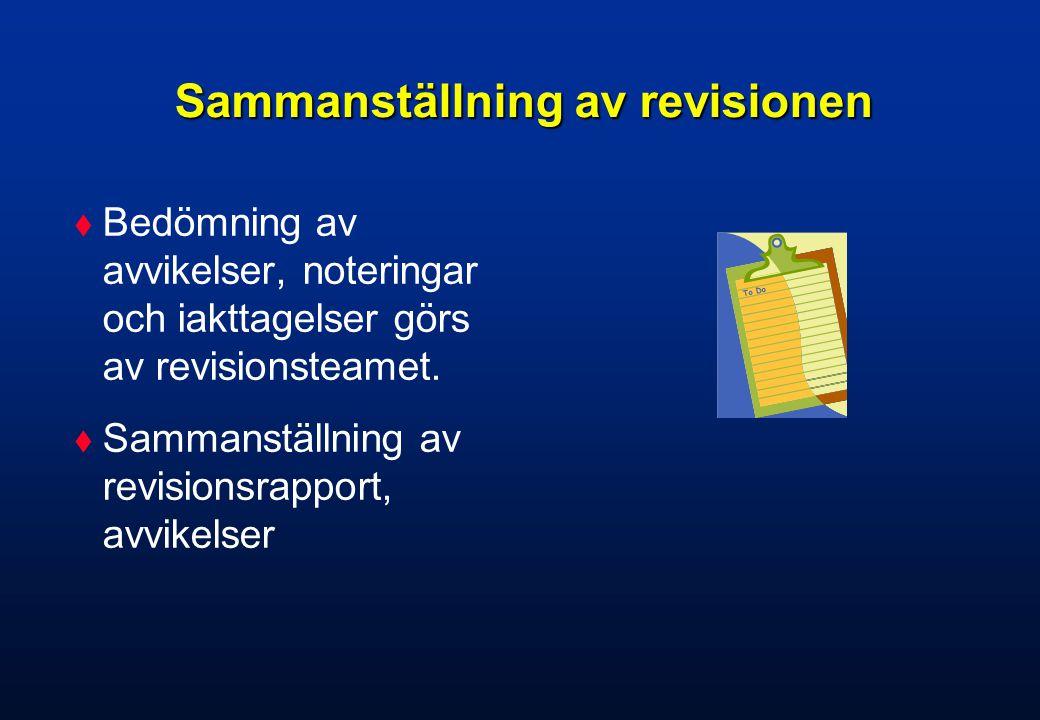 Avslutande möte  Presentation av revisionsrapport  Avvikelser  Rekommendation  Inplanering nästa uppföljande revision
