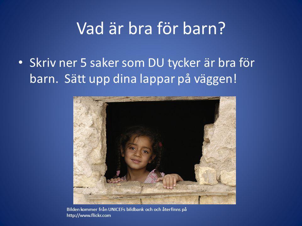 Alla barn har rätt till rent vatten. Rött eller grönt? Vad tycker DU? Varför? Varför inte?