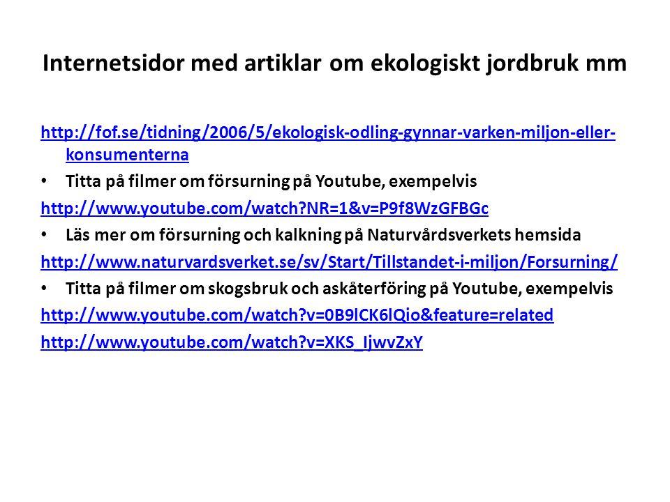 Internetsidor med artiklar om ekologiskt jordbruk mm http://fof.se/tidning/2006/5/ekologisk-odling-gynnar-varken-miljon-eller- konsumenterna Titta på