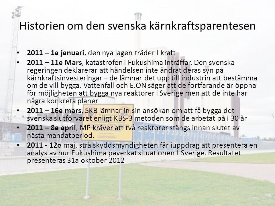 Historien om den svenska kärnkraftsparentesen 2011 – 1a januari, den nya lagen träder I kraft 2011 – 11e Mars, katastrofen i Fukushima inträffar. Den