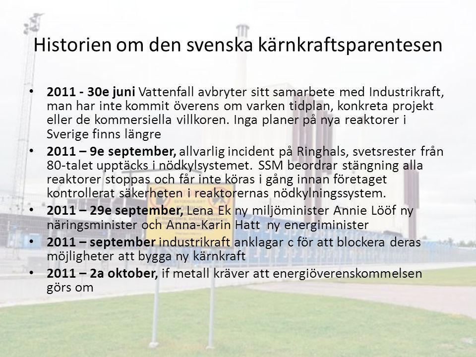 Historien om den svenska kärnkraftsparentesen 2011 - 30e juni Vattenfall avbryter sitt samarbete med Industrikraft, man har inte kommit överens om var