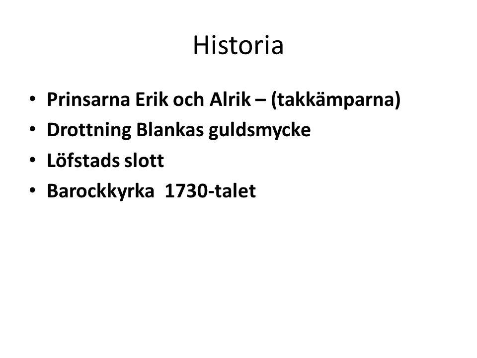 Historia Prinsarna Erik och Alrik – (takkämparna) Drottning Blankas guldsmycke Löfstads slott Barockkyrka 1730-talet