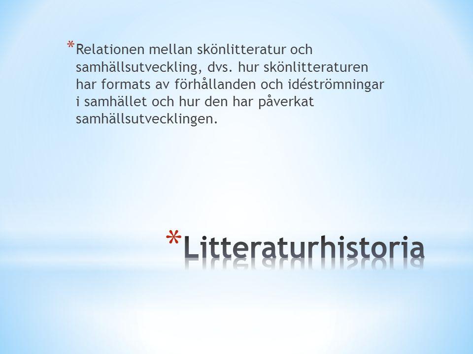 * Relationen mellan skönlitteratur och samhällsutveckling, dvs. hur skönlitteraturen har formats av förhållanden och idéströmningar i samhället och hu