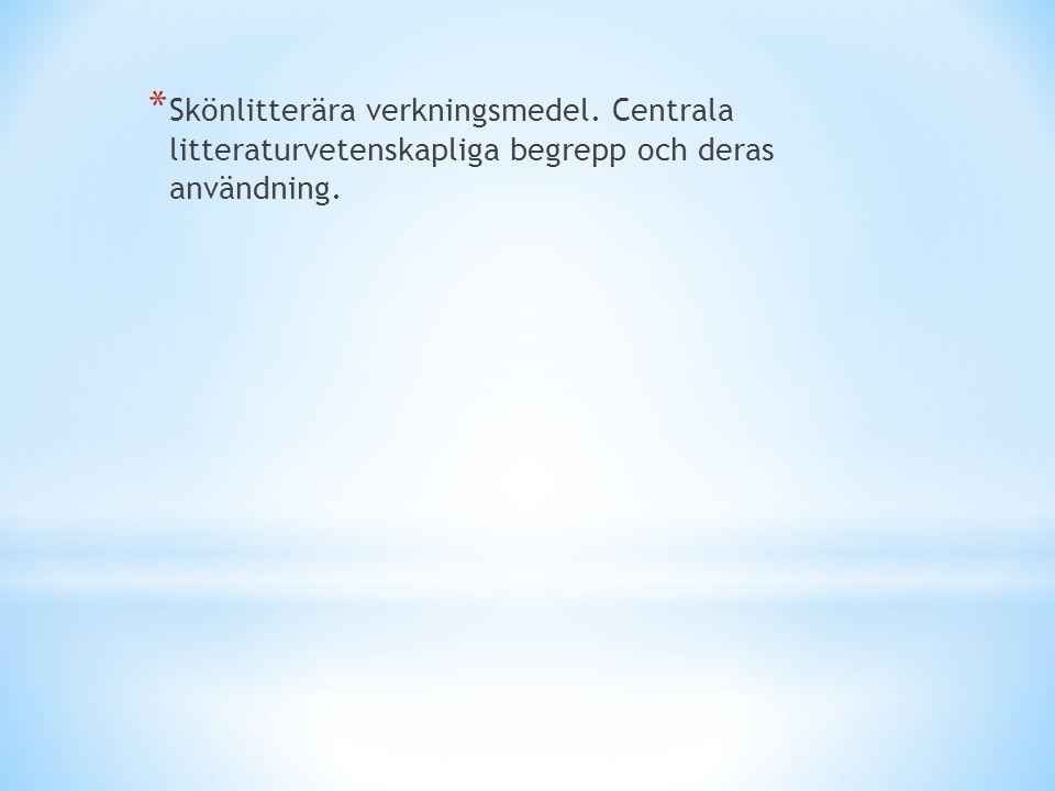 * Skönlitterära verkningsmedel. Centrala litteraturvetenskapliga begrepp och deras användning.