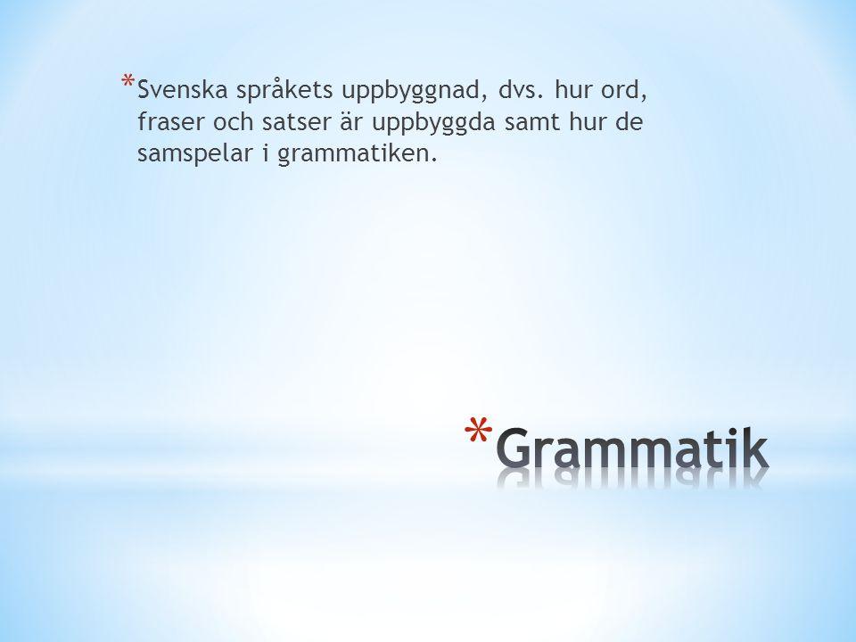* Svenska språkets uppbyggnad, dvs. hur ord, fraser och satser är uppbyggda samt hur de samspelar i grammatiken.