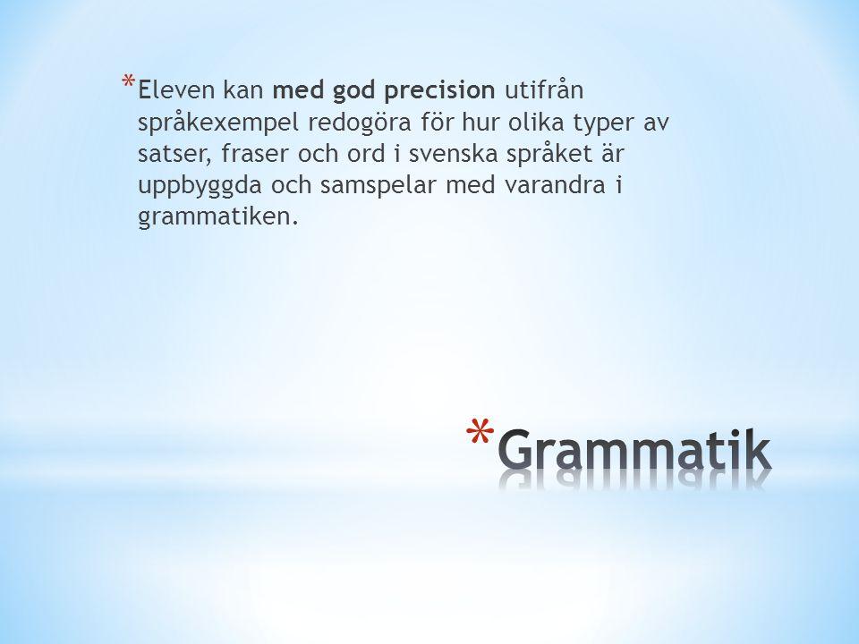 * Eleven kan med god precision utifrån språkexempel redogöra för hur olika typer av satser, fraser och ord i svenska språket är uppbyggda och samspela