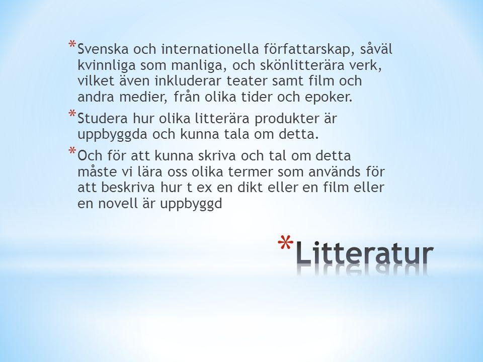 * Svenska och internationella författarskap, såväl kvinnliga som manliga, och skönlitterära verk, vilket även inkluderar teater samt film och andra me