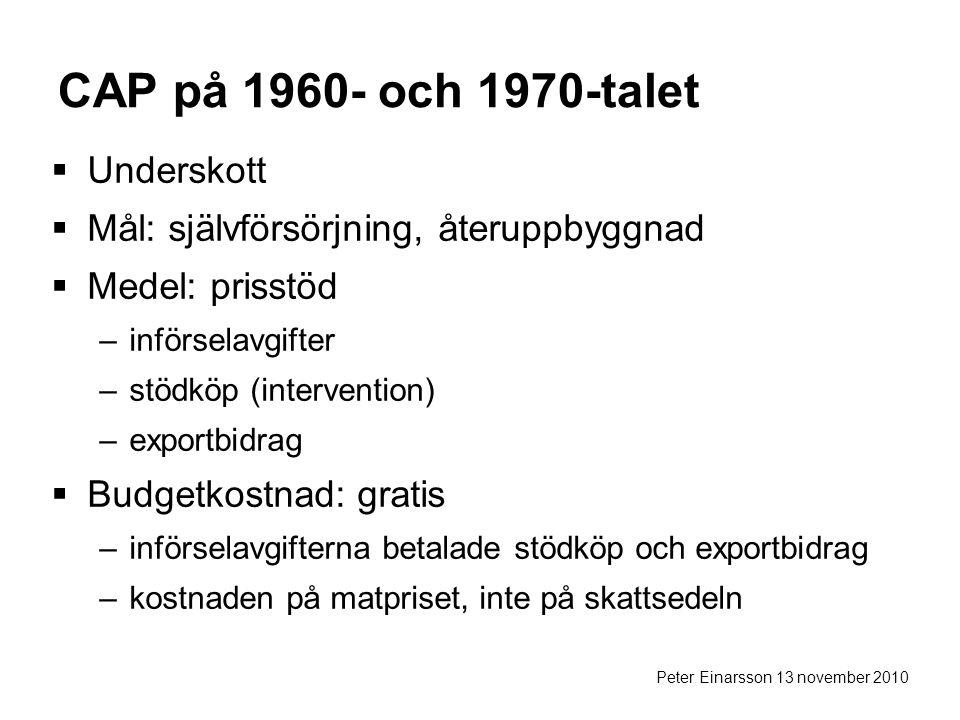 Peter Einarsson 13 november 2010 CAP på 1960- och 1970-talet  Underskott  Mål: självförsörjning, återuppbyggnad  Medel: prisstöd –införselavgifter –stödköp (intervention) –exportbidrag  Budgetkostnad: gratis –införselavgifterna betalade stödköp och exportbidrag –kostnaden på matpriset, inte på skattsedeln