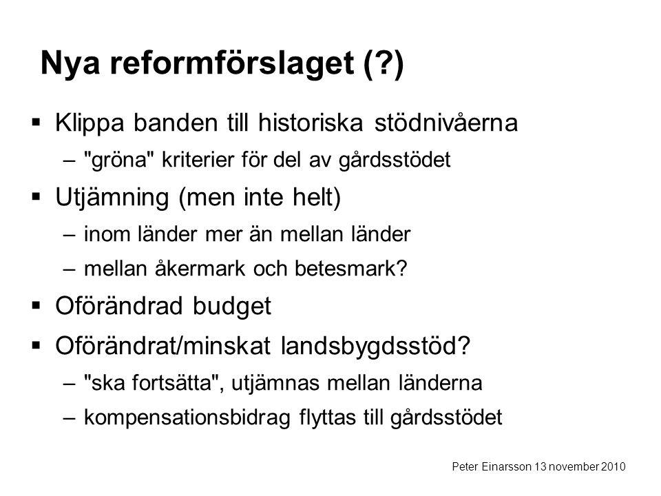 Peter Einarsson 13 november 2010 Nya reformförslaget (?)  Klippa banden till historiska stödnivåerna – gröna kriterier för del av gårdsstödet  Utjämning (men inte helt) –inom länder mer än mellan länder –mellan åkermark och betesmark.