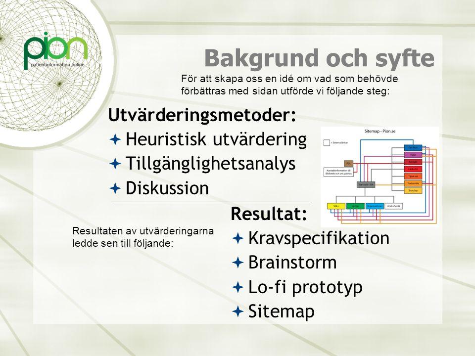 Bakgrund och syfte Utvärderingsmetoder:  Heuristisk utvärdering  Tillgänglighetsanalys  Diskussion Resultat:  Kravspecifikation  Brainstorm  Lo-
