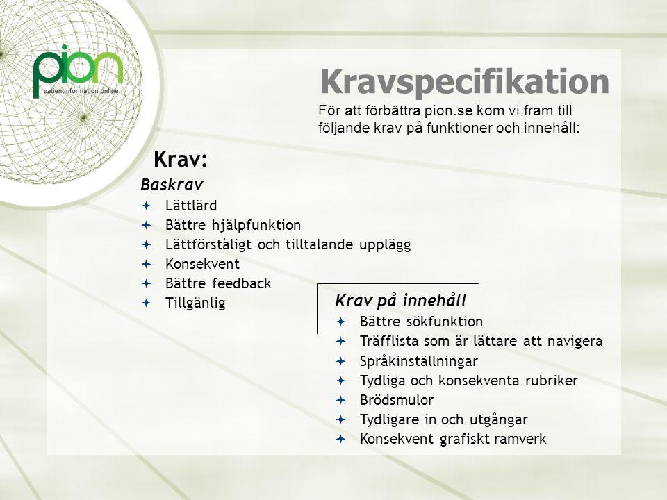 Kravspecifikation Krav: Baskrav  Lättlärd  Bättre hjälpfunktion  Lättförståligt och tilltalande upplägg  Konsekvent  Bättre feedback  Tillgänlig