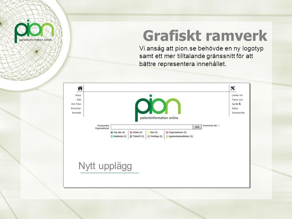 Grafiskt ramverk Vi ansåg att pion.se behövde en ny logotyp samt ett mer tilltalande gränssnitt för att bättre representera innehållet. Nytt upplägg