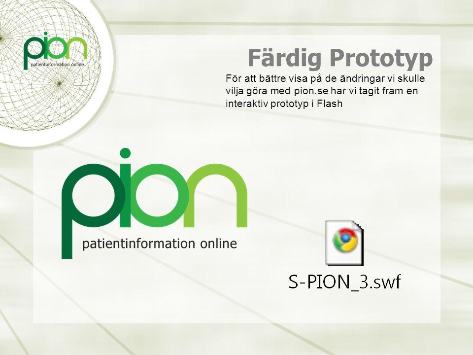 Färdig Prototyp För att bättre visa på de ändringar vi skulle vilja göra med pion.se har vi tagit fram en interaktiv prototyp i Flash