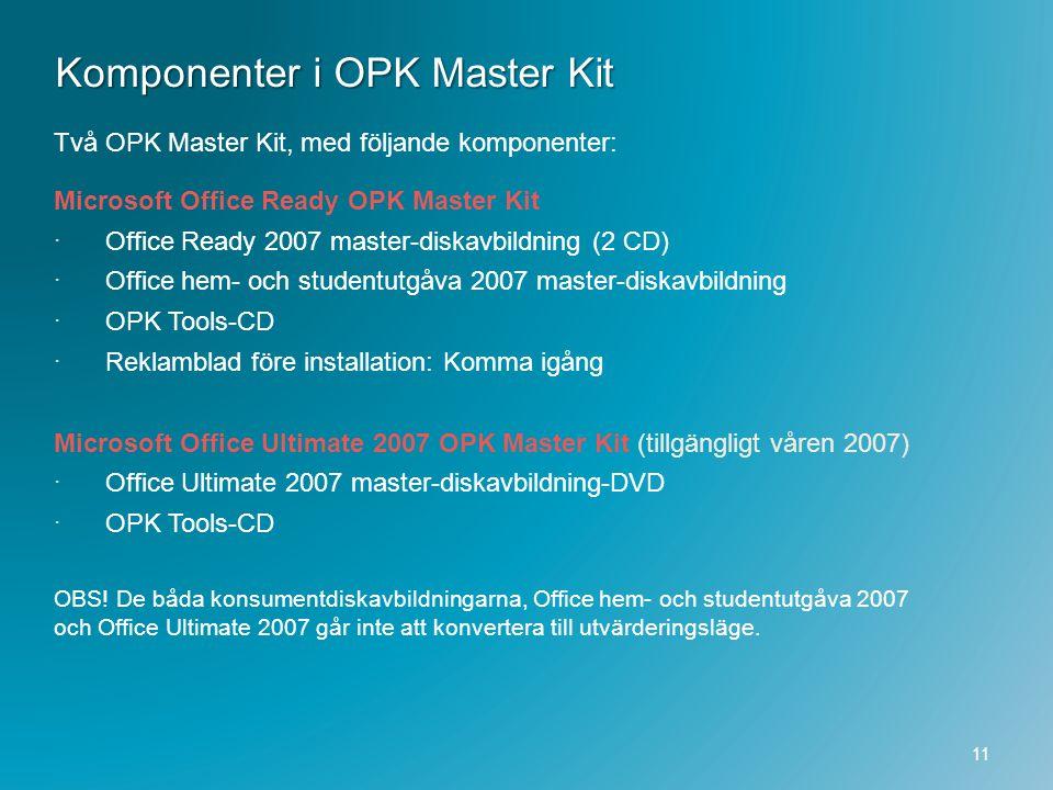 Komponenter i OPK Master Kit Två OPK Master Kit, med följande komponenter: Microsoft Office Ready OPK Master Kit  Office Ready 2007 master-diskavbild