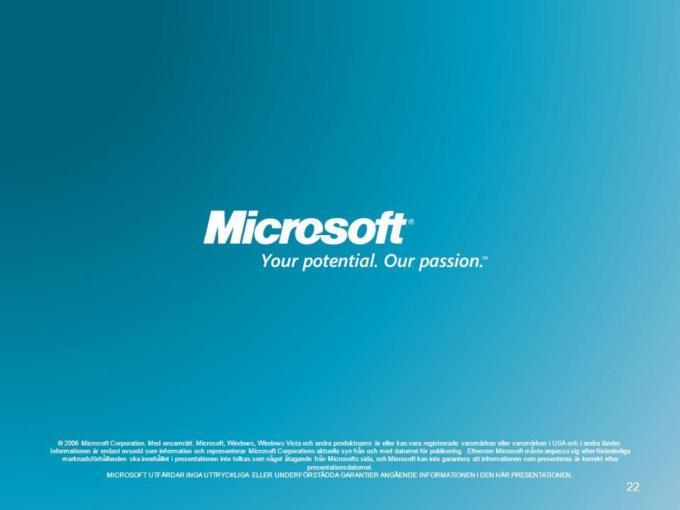 © 2006 Microsoft Corporation. Med ensamrätt. Microsoft, Windows, Windows Vista och andra produktnamn är eller kan vara registrerade varumärken eller v