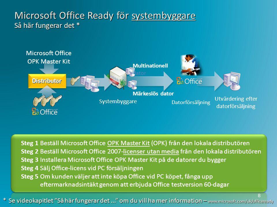 Steg 1 Beställ Microsoft Office OPK Master Kit (OPK) från den lokala distributören Steg 2 Beställ Microsoft Office 2007-licenser utan media från den l