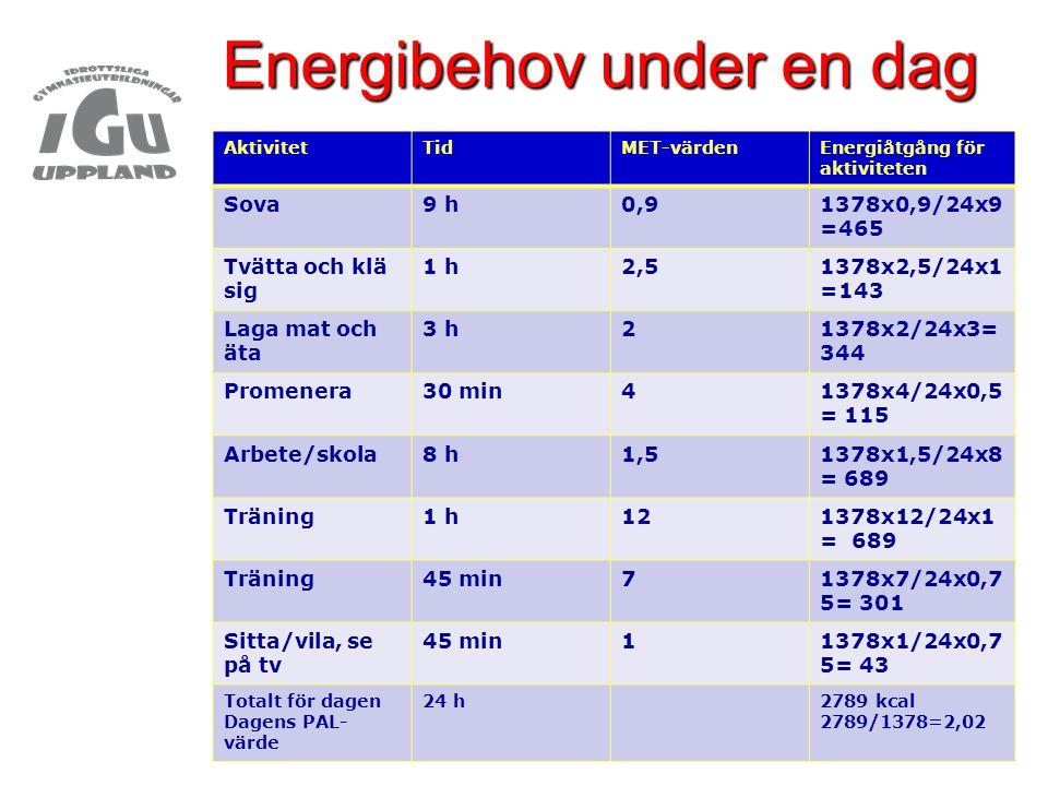 Energibehov under en dag AktivitetTidMET-värdenEnergiåtgång för aktiviteten Sova9 h0,91378x0,9/24x9 =465 Tvätta och klä sig 1 h2,51378x2,5/24x1 =143 L