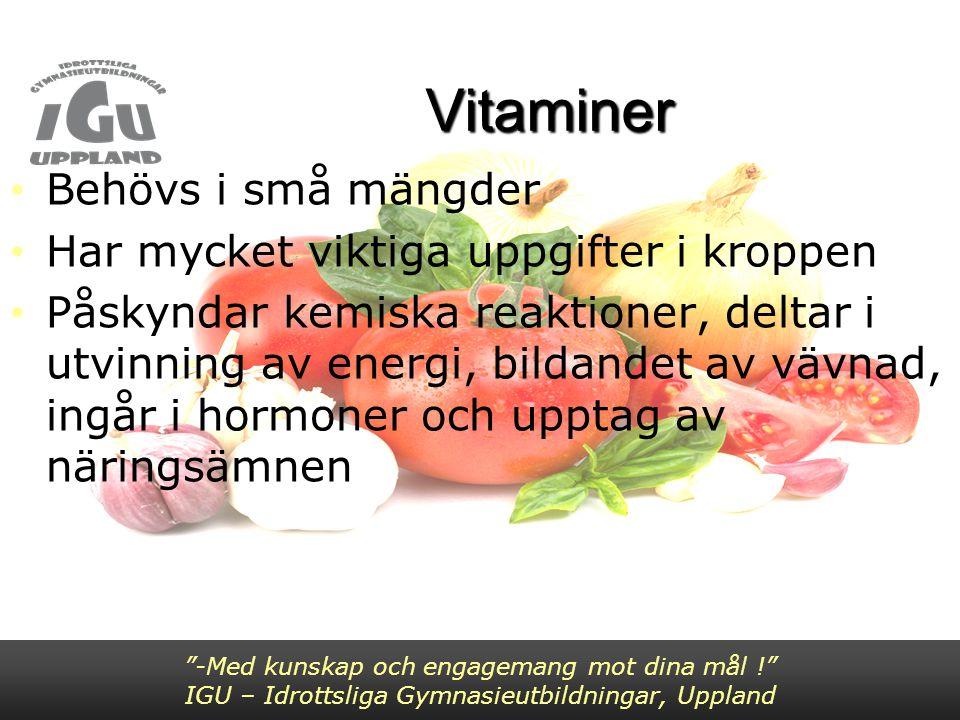 Vitaminer Behövs i små mängder Har mycket viktiga uppgifter i kroppen Påskyndar kemiska reaktioner, deltar i utvinning av energi, bildandet av vävnad,