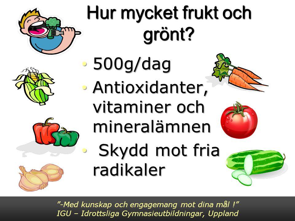 Hur mycket frukt och grönt? 500g/dag 500g/dag Antioxidanter, vitaminer och mineralämnen Antioxidanter, vitaminer och mineralämnen Skydd mot fria radik