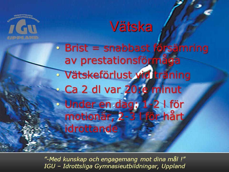 Vätska Brist = snabbast försämring av prestationsförmåga Brist = snabbast försämring av prestationsförmåga Vätskeförlust vid träning Vätskeförlust vid