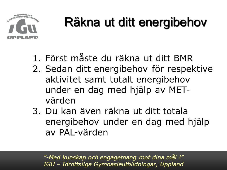 -Med kunskap och engagemang mot dina mål ! IGU – Idrottsliga Gymnasieutbildningar, Uppland BMR BMR = vilometabolismen: energiförbrukningen vid vaket tillstånd i fysisk och psykisk vila.