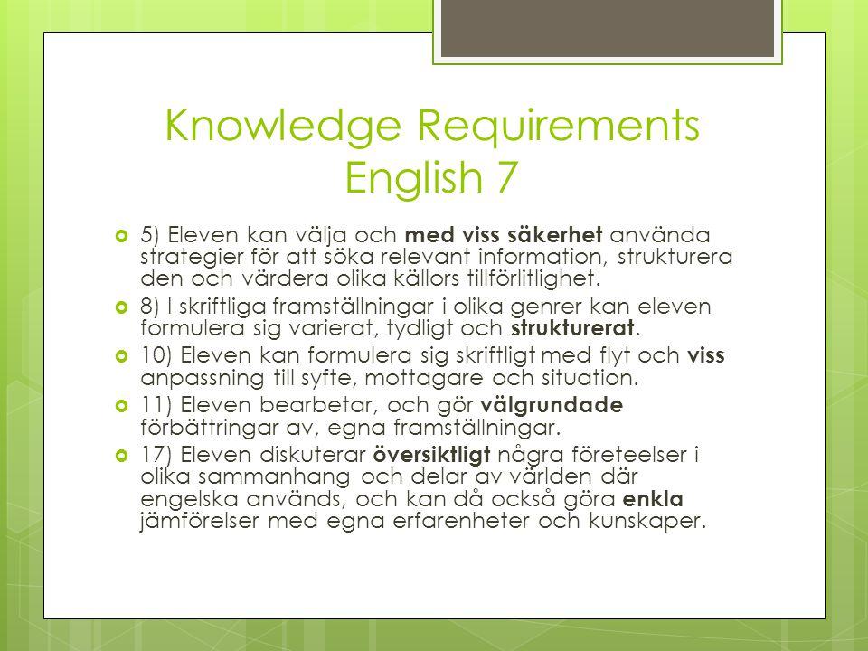 Knowledge Requirements English 7  5) Eleven kan välja och med viss säkerhet använda strategier för att söka relevant information, strukturera den och