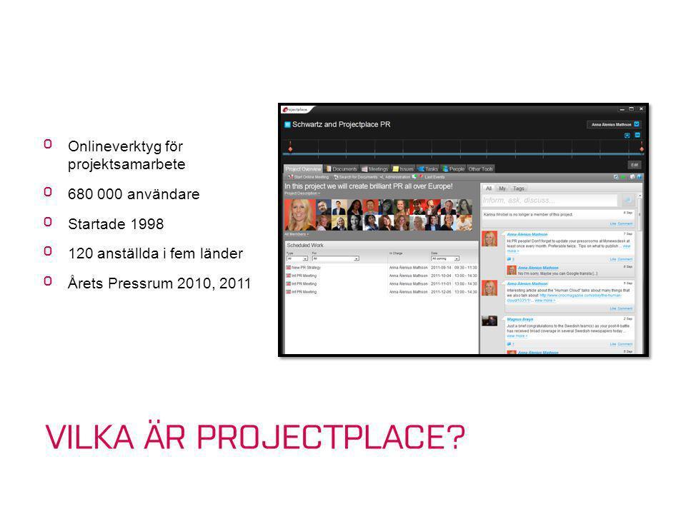 º Onlineverktyg för projektsamarbete º 680 000 användare º Startade 1998 º 120 anställda i fem länder º Årets Pressrum 2010, 2011