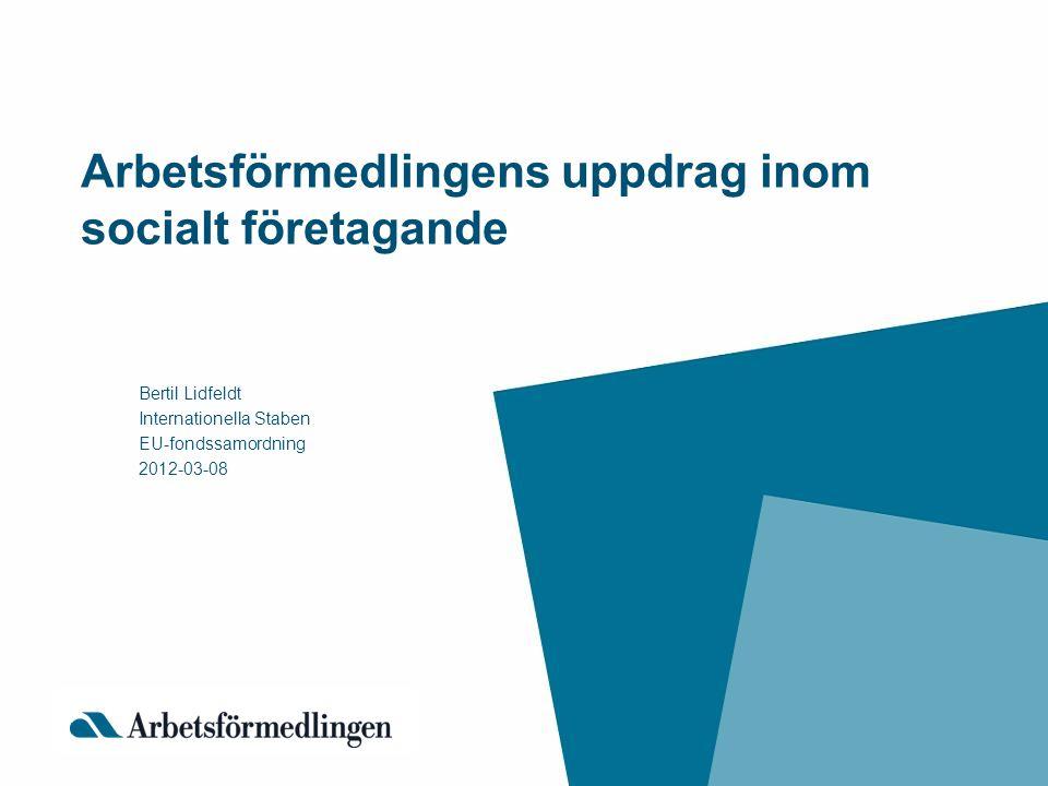 Arbetsförmedlingens uppdrag inom socialt företagande Bertil Lidfeldt Internationella Staben EU-fondssamordning 2012-03-08