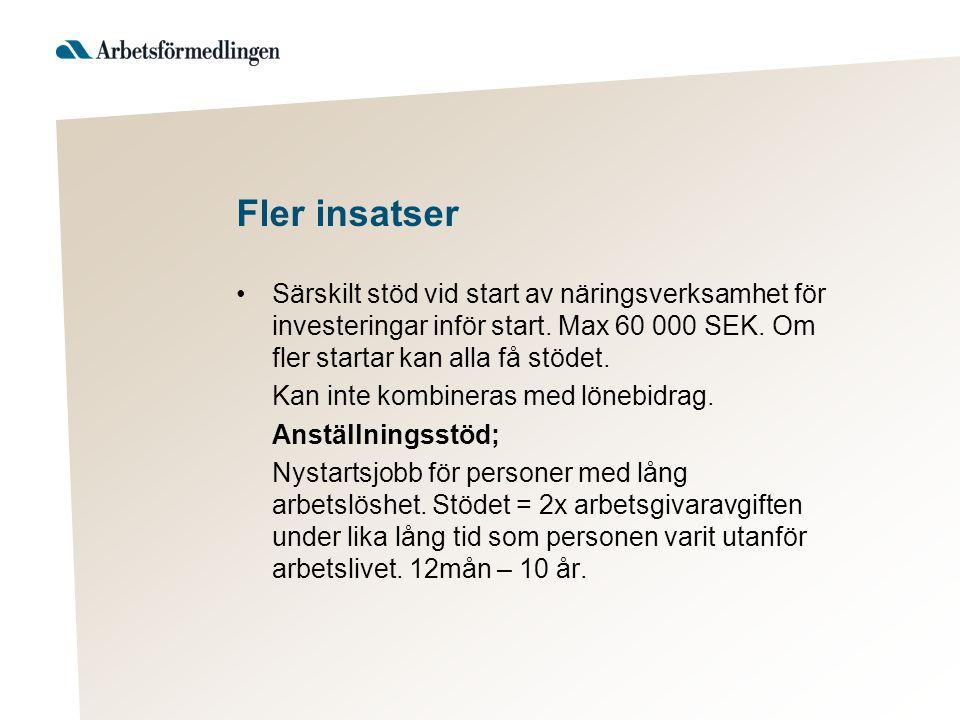 Fler insatser Särskilt stöd vid start av näringsverksamhet för investeringar inför start. Max 60 000 SEK. Om fler startar kan alla få stödet. Kan inte
