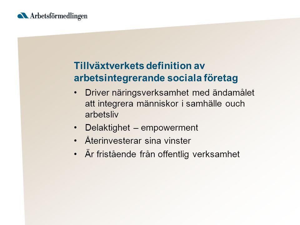 Tillväxtverkets definition av arbetsintegrerande sociala företag Driver näringsverksamhet med ändamålet att integrera människor i samhälle ouch arbets