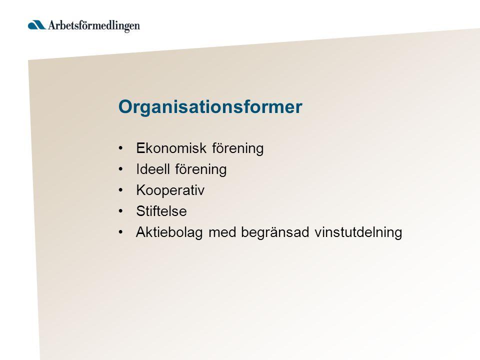 Organisationsformer Ekonomisk förening Ideell förening Kooperativ Stiftelse Aktiebolag med begränsad vinstutdelning